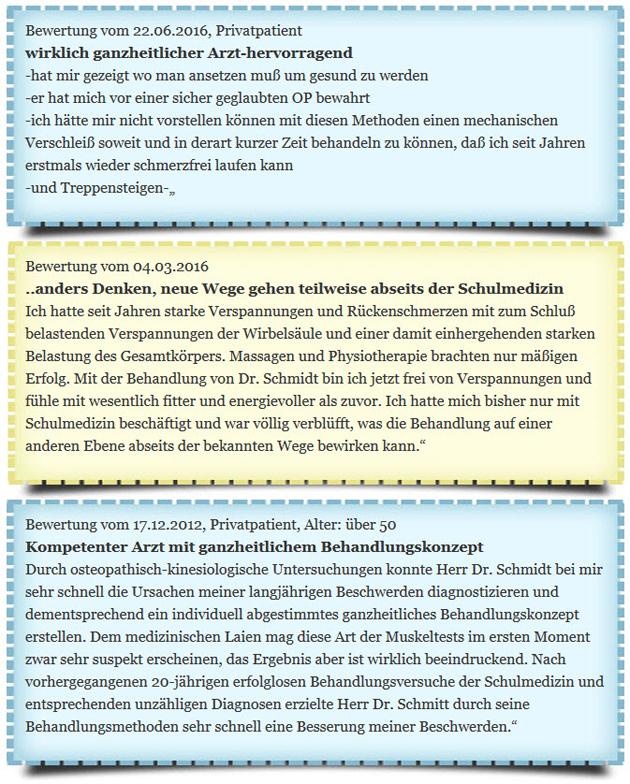 Orthopäde Bayreuth Dr. Martin Schmidt Patientenfeedback